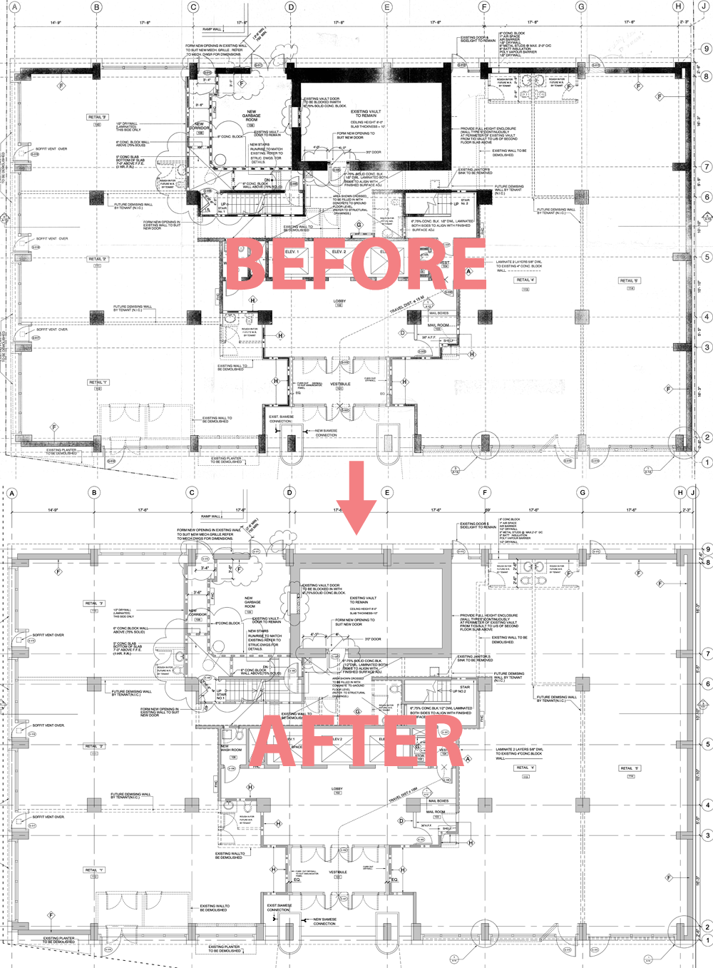 Toronto cad services autocad drafting technical drawings for Floor sheet for office