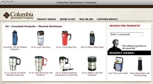 Columbia Sportswear Website